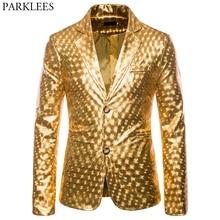 מבריק זהב גליטר לנשף חליפות & בלייזר גברים 2019 חדש לגמרי Slim Fit מחורצים דש אופנתי מעיל מועדון מסיבת שלב בגדים לזכר