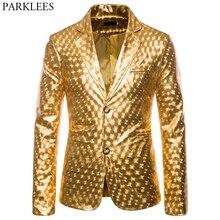Brilhante Gold Glitter Prom Fatos & Blazer Homens 2019 Nova Marca Slim Fit Jaqueta Entalhado Lapela Elegante Club Party Stage roupas para o Sexo Masculino