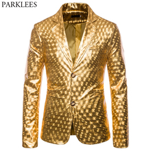 Shiny Gold Glitter Prom Suits&Blazer Men 2019 Brand New Slim Fit Notched Lapel Stylish Jacket Club Party Stage Clothing for Male