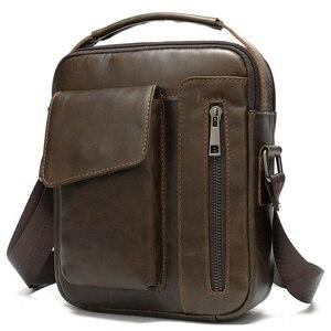Image 5 - Westal masculino bolsa de ombro pequena aba zíper crossbody sacos de couro genuíno para homens bolsa masculina mensageiro sacos 8211