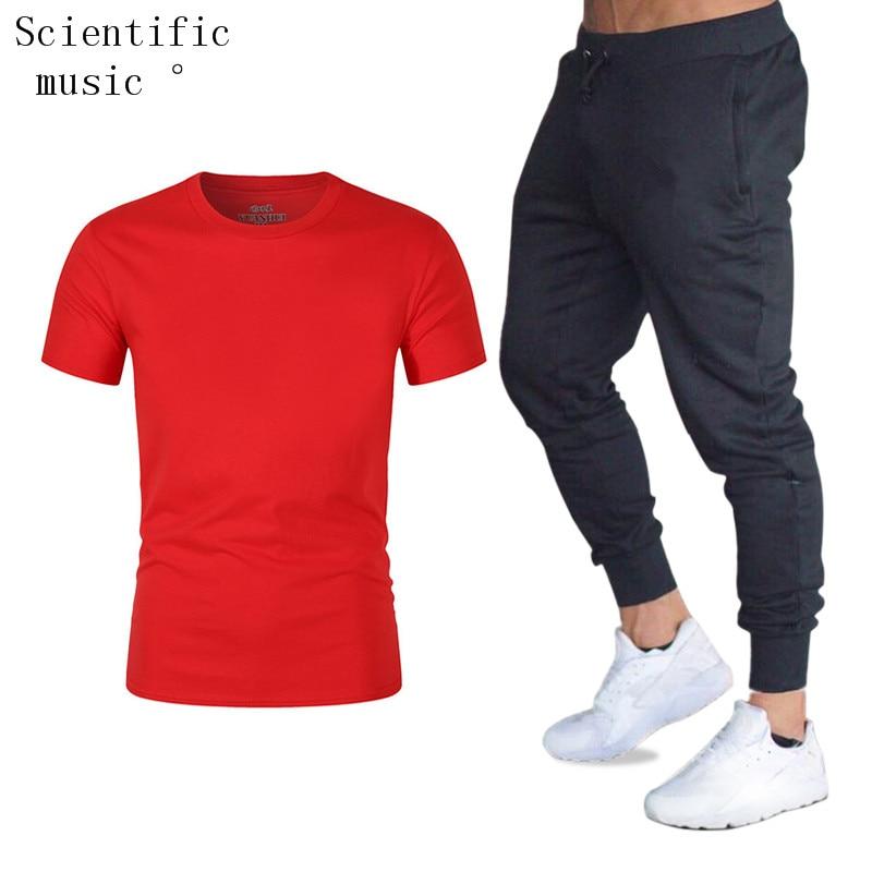 T-shirt + Pantalon Ensembles Pour Hommes Marque Vtements Gymnases Serr Coton Ensemble Hommes Joggers T-shirt Homme Gyms T-shirt
