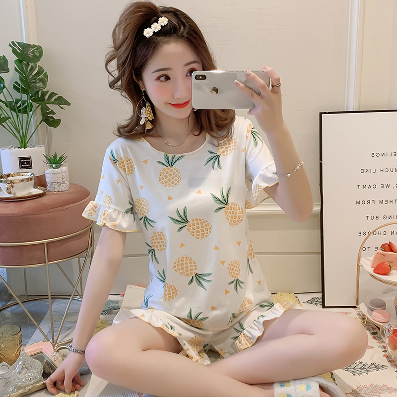 Pajamas Women's Summer Qmilch Thin Crew Neck Casual Tracksuit Cartoon Pig Students Short Sleeve Shorts Two-Piece Set