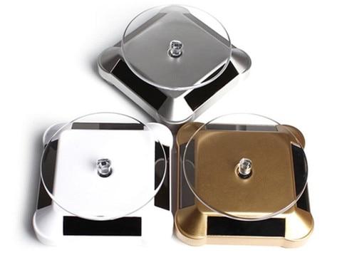 10pcs 360 graus display stand telefone salar power acrilico relogio rotacao titular joias suporte virar
