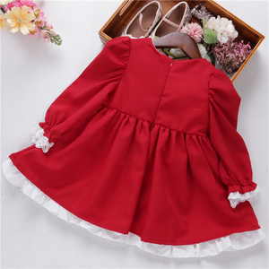 Image 5 - baby girl red dress long sleeve lace vintage retro kids dresses for girls clothes christmas princess children clothes autumn