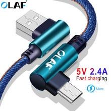 OLAF 90 Grad Micro USB Kabel 2.4A Schnelle Lade Ladung Daten Kabel Microusb kabel Für Samsung Xiaomi Android Mobilie Telefon kabel