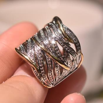 Sparkling Women's Vintage Crossover Statement Ring Luxury Two Tone Bride Engagement Wedding Band Rings