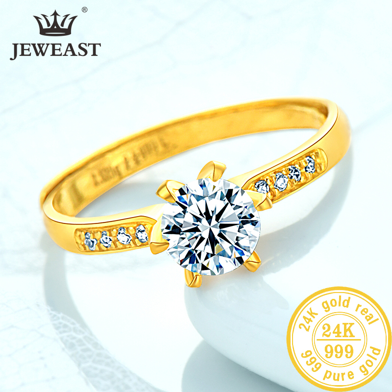 24K Pure Gold Ring Real AU 999 Solid Gold Rings Elegant Shiny Heart Beautiful Upscale Trendy Classic Jewelry Hot Sell New 2019