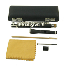 Silver Plated Key of C Piccolo Flute and Wooden Case Cleaning Cloth Cleaning Rod Screwdriver Protect Cover Student Kids Gifts