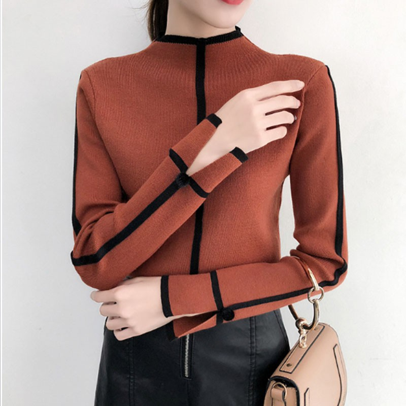 Women's Sweater Fashion Pullover Autumn Winter Solid Color Slim Long-Sleeved Turtleneck Slim Bottom Sweater Tops