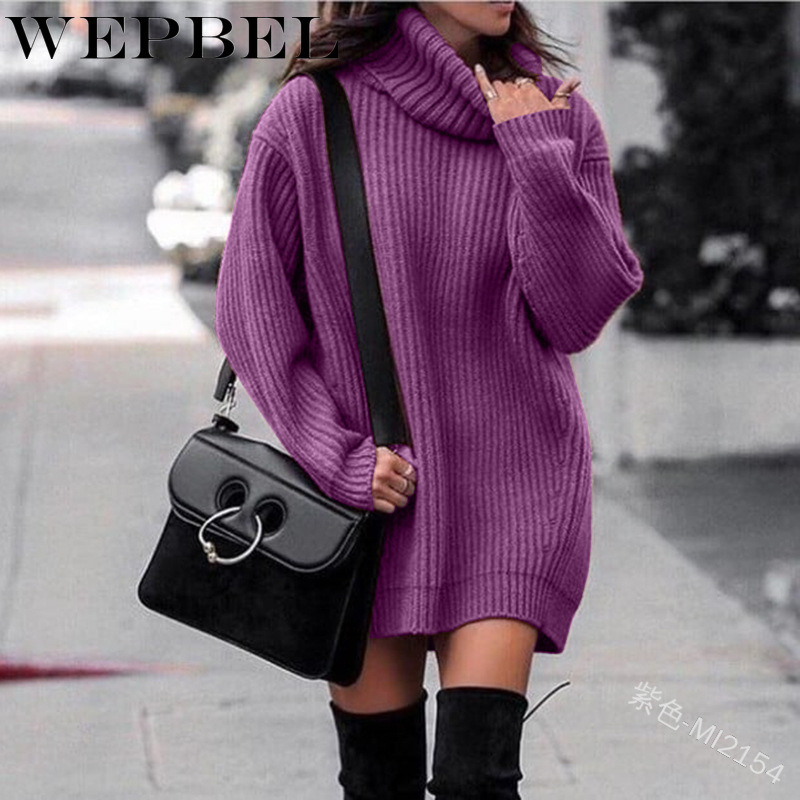WEPBEL Women High Neck Autumn Winter Sweater Dress Long Loose Plus Size Knitted Casual Fashion Ladies  Sweaters