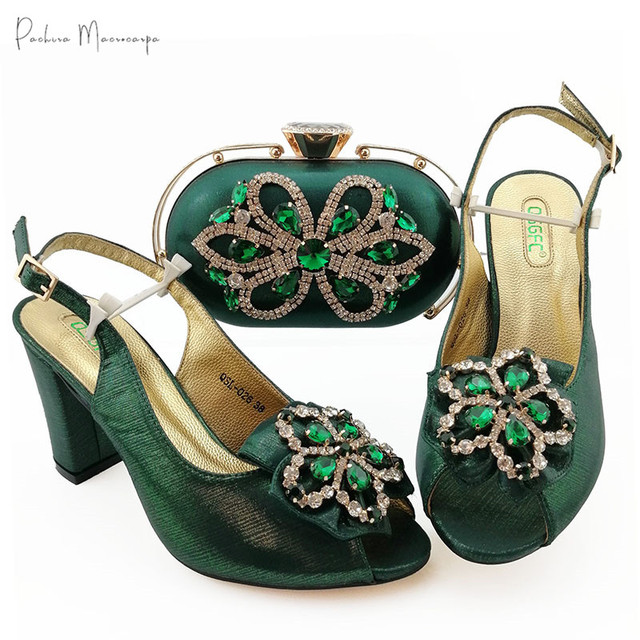 2020 Hot Selling Italian Design Lastest African Nigerian Ladies Shoes and Bag Set Decorated With Rhinestone in D.Green Color