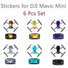 6 Stuks Set Beschermende Film Pvc Stickers Voor Mavic Mini Waterdichte Scratch Proof Decals Volledige Cover Skin Accessoires