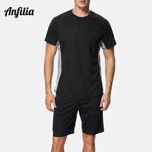 Anfilia Men's Quick-drying shirt Loose-Fit Shirts Men Diving Shirt Surf Rash Guard Top Sports T-shirt Beach Wear