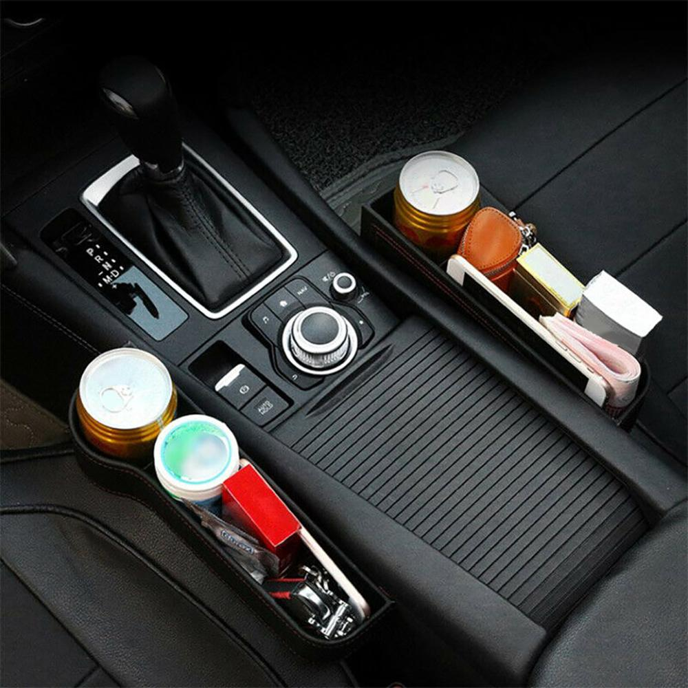 OLOMM Car Seat Gap Slit Pocket Catcher Organizer PU Leather Storage Box Phone Bottle Cups Holder Auto Car Accessories Interior