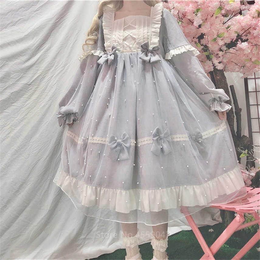 Victorian Palace Women OP Pearl Doll Lolita Dress Japanese Style Kawaii Girls Noble Bow-knot Tea Party Halloween Cosplay Costume
