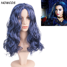 Descendants 2 Evie Adult Cosplay Wig Long Curly Blue Women Synthetic Hair Party