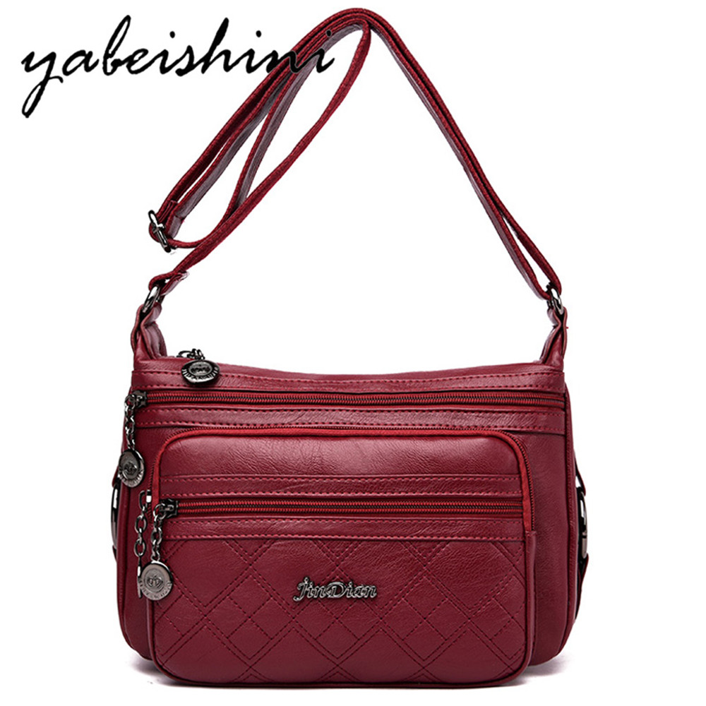 Three-layer Zipper Women Crossbody Bags For Women Bag Over Shoulder High Quality Leather Messenger Bags Sac A Main Tote Bolsas