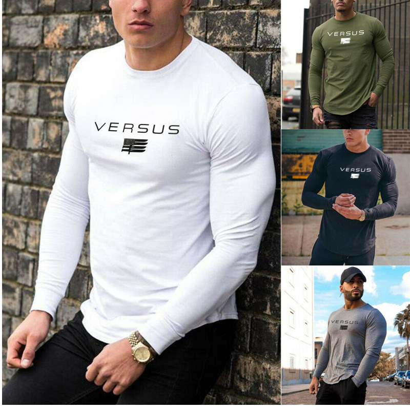 2019 Gyms Tight Cotton Long Sleeve T-shirt Mens Fashion Printing T-shirt Homme Gyms T Shirt Men Fitness Summer Tees Tops