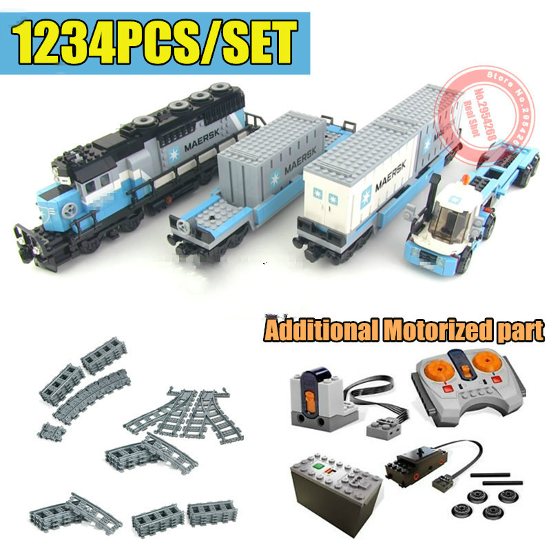 New MOC RC Motor Power Function Ultimate Maersk Train Track Fit Legoings Technic Train Building Block Bricks Toys For Children