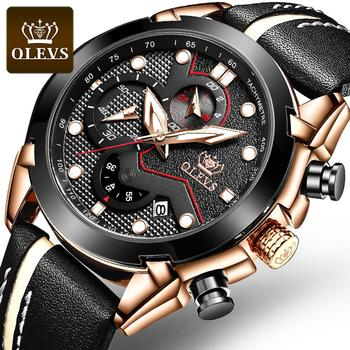 цена на Luxury men's watch fashionable Chronograph Sporting quartz watch OLEVS leather strap watch with date Reloj Hombre glowing hands