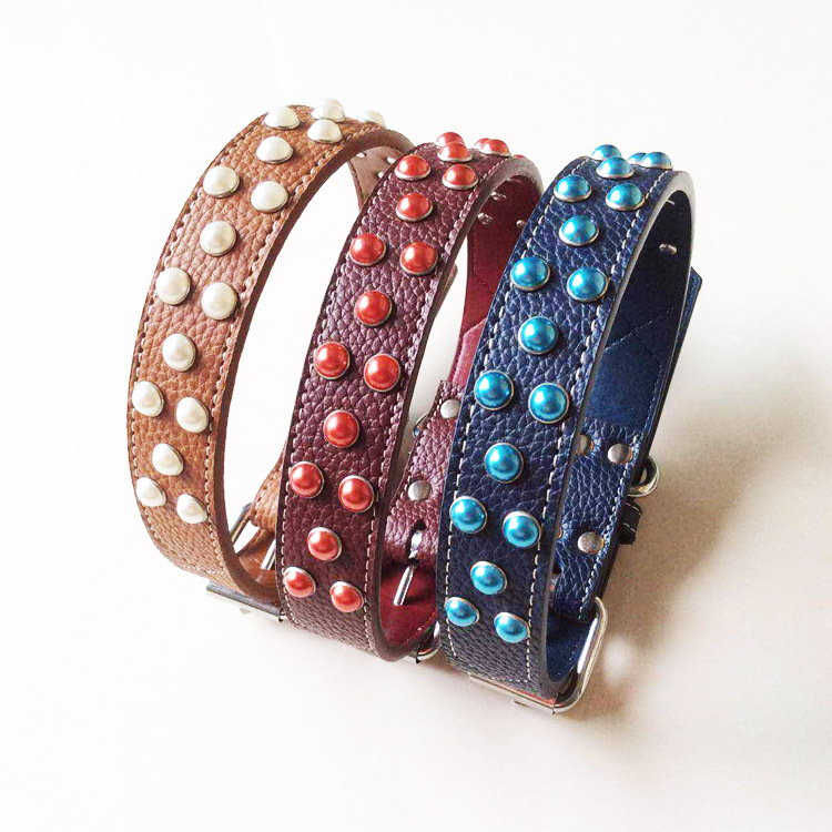 New Style Hot Sales Pet Pu Neck Ring Medium Large Dog Color Rivet Bandana Leather Solid Color Dog Neck Ring