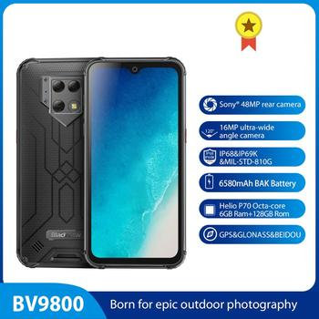 """Blackview BV9800 IP68 Waterproof smartphone 6GB+128GB 6.3"""" incell MT6771 OctaCore 48MP Android 9.0 NFC 6580mAh Wireless Charging"""