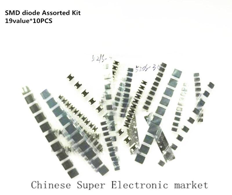 Набор диодов SMD 190 шт./лот, 19 значений * 10 шт., 30 ~ 100 в, набор диодов для ремонта и исследований SS34 SS36 SS210 SS16 SS24 SS12 SS14 SS26