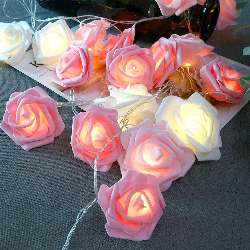 3.7M 20 LED Rose Flower String Lights Party Festival Decor Lamp EU Plug 220V Used In Festival Lighting Party Wedding Bedrooms