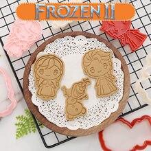 Congelado dos desenhos animados biscoito molde doméstico diy ferramenta de cozimento 3d estéreo pressionando tipo disney anime figura elsa anna olaf modelo