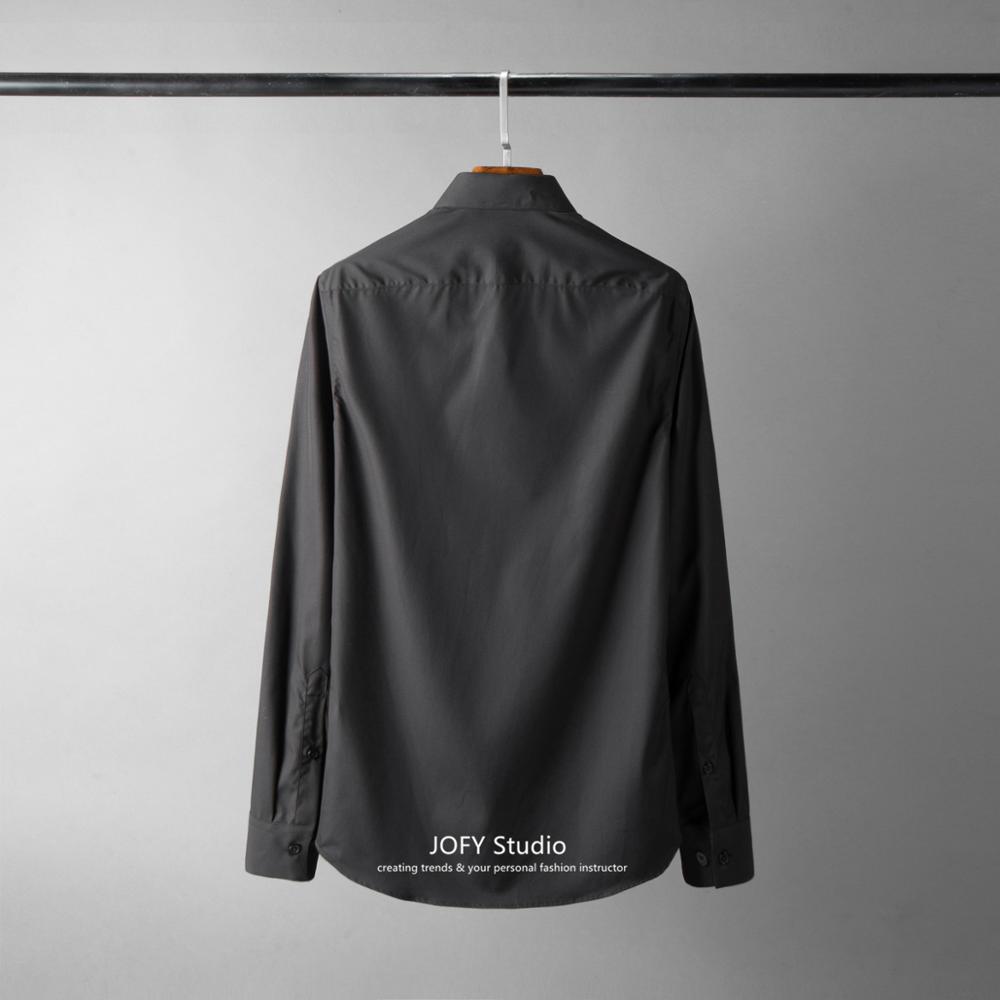 ¡38 48! nuevo cuello de alta densidad camisa bordada Lisa moda europea y americana camisa de negocios hombre - 4