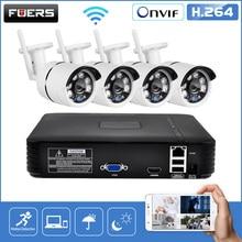 Fuers 4ch nvr sistema de vigilância vídeo cctv sistema de câmera segurança kit 720 p IR CUT ao ar livre câmera ip cctv sistema wi fi