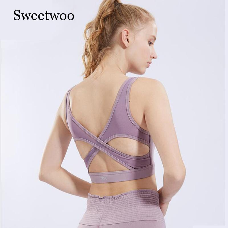 2019 New Sports Bras For Women Cross Back Bra High Impact Yoga Running Bras Breathable Yoga Running Fitness Athletic Gym Tops in Sports Bras from Sports Entertainment