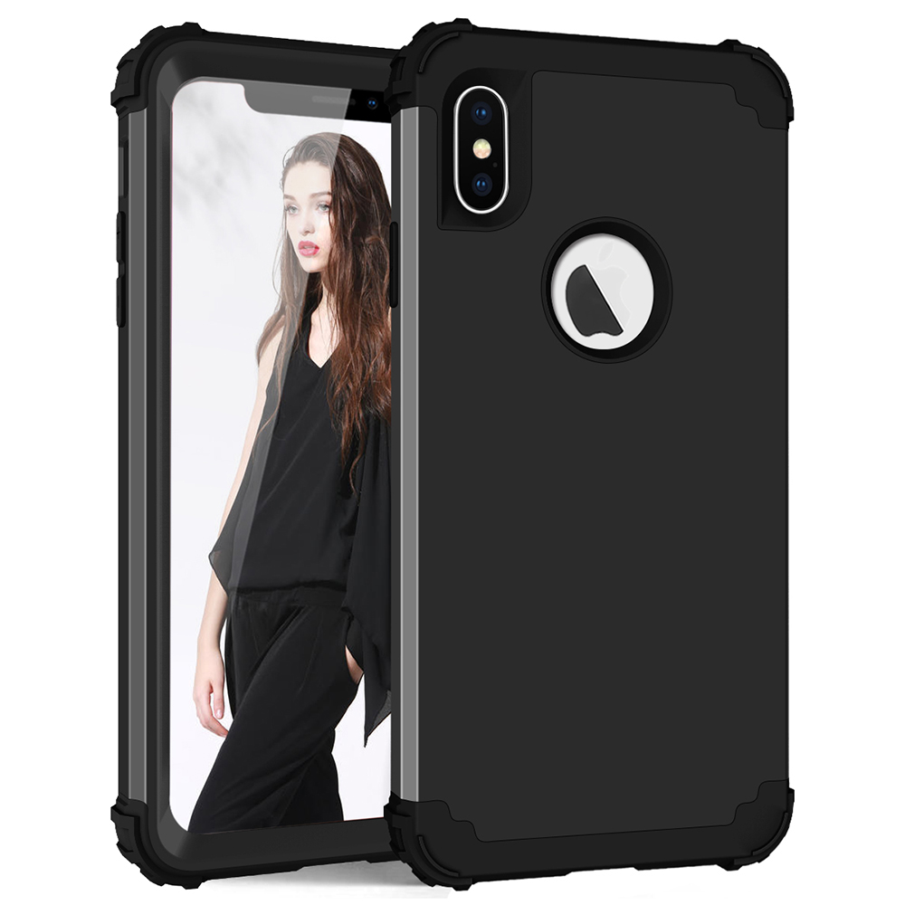 Stödsäker telefonfodral för iPhone 6 6S 7 Plus, PC + TPU 3-lager Hybrid Full Body Body Protect Case för iPhone 7 Anti-Knock Phone Shell