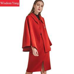 Комплект из 2 предметов, зимнее пальто, женский красный плащ, шерстяные пальто, костюмы, кашемировые женские пальто, шерстяное, миди, юбка-кар...