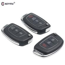 KEYYOU 20pcs/lot Remote Key Fob 3/4 Buttons Car Key Shell Case Flip Floding For Hyundai ELANTRA New Verna