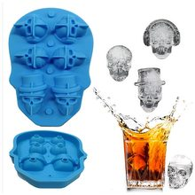 4/6/8 löcher Schädel Ice Cube Maker 3D Knochen Candy Bar Küche Werkzeuge Gadgets 4 Grids Silikon Whisky 3D eis Form icetray(China)
