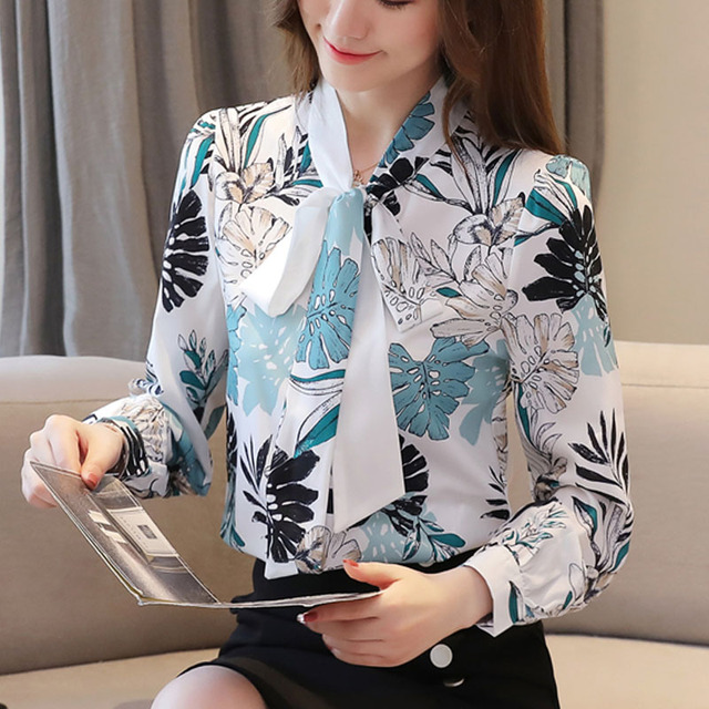 Blusas Mujer De Moda 2021 Ladies Tops Chiffon Blouses Shirts Long Sleeve Button Floral Bow Blouse For Women Clothing 6002 50 3