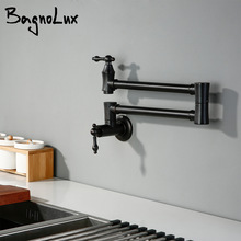 Kitchen Faucet Folding Sink-Tap Wall-Mounted Stretch Brass Stainless Black Swivel Rotary