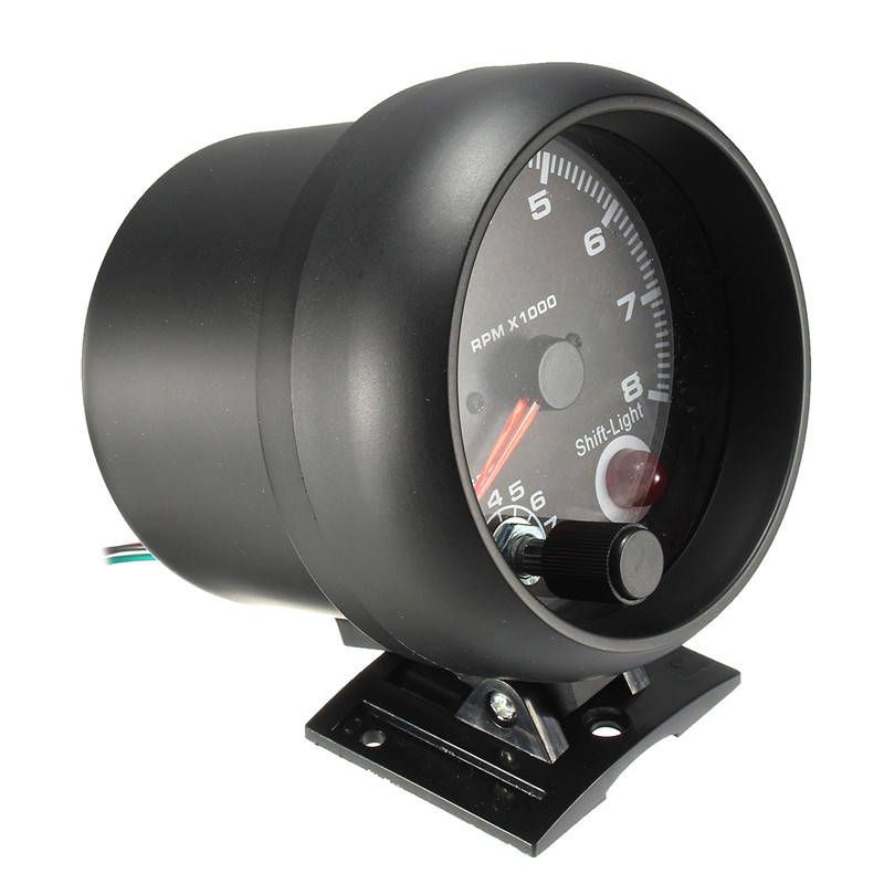 0 ~ 8000 tr/min rétro-éclairage LED blanc tachymètre jauge 95mm/3.75in fonctionne sur 4 6 8 cylindres moteurs universels pour véhicule à essence 12V - 4