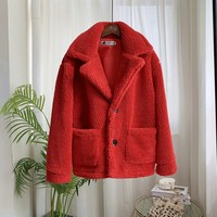 Autumn Winter Wool Coat Women Warm Lamb Fur Solid Color Button Lapel Plus Size Casual Double Pocket Long Sleeved Wool Coat