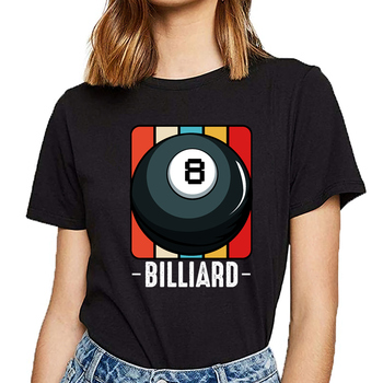 Tops T Shirt Women vintage retro style 8 ball pool billiard present Summer Harajuku Cotton Female Tshirt