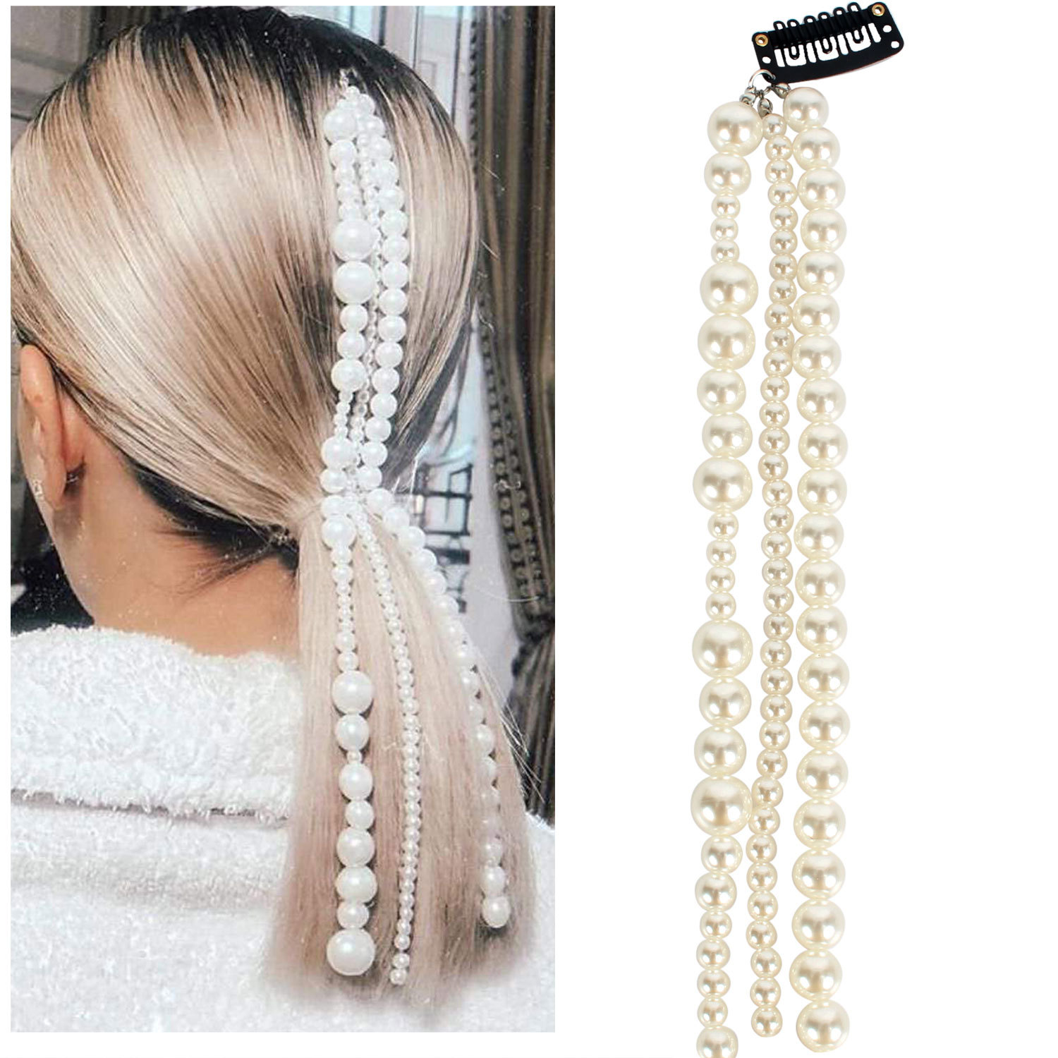 European And American Cross-border Jewelry Pearl Hair Decoration Female Hair Accessories Pearl Tassel Hairpin