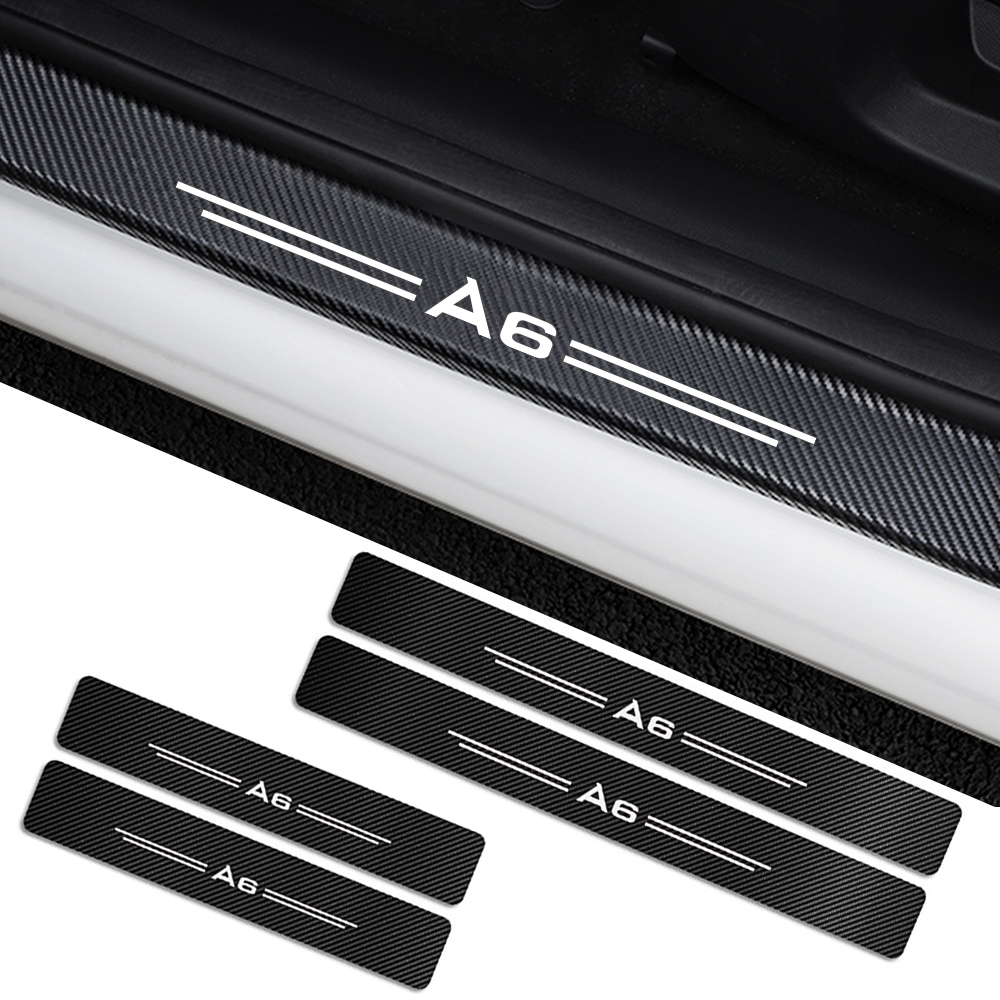 4pcs For Audi A4 B5 B6 B7 B8 B9 A3 8P 8V 8L A5 A6 C6 C5 C7 A4 A1 A7 A8 Q2 Q3 Q5 Q7 TT Accessories Car Door Sills Guards Stickers