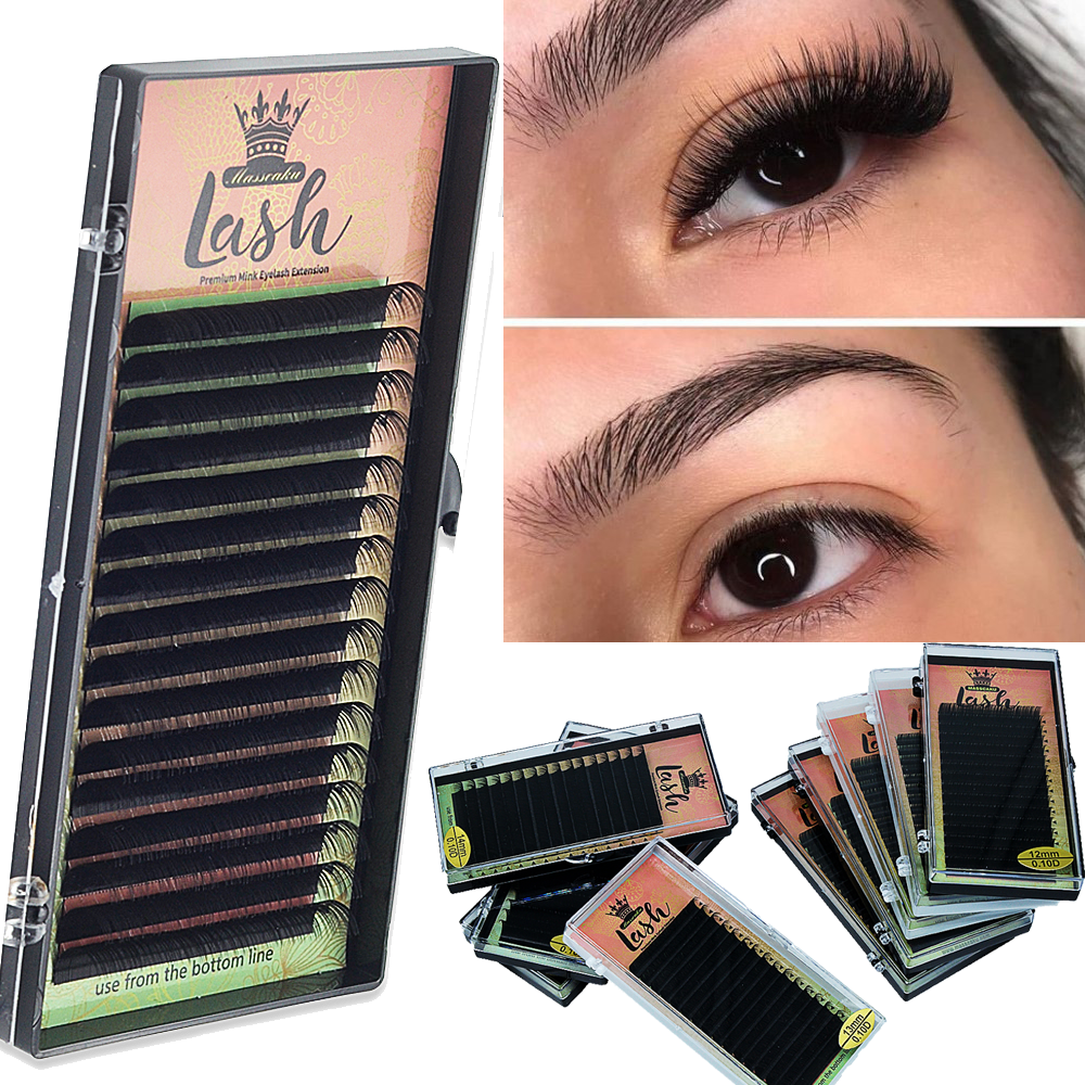 High Quality 16Rows 8-18mm Length Faux Mink Eyelashes Individual Eyelash Lashes Soft Eyelash Extension False Eyelash 1