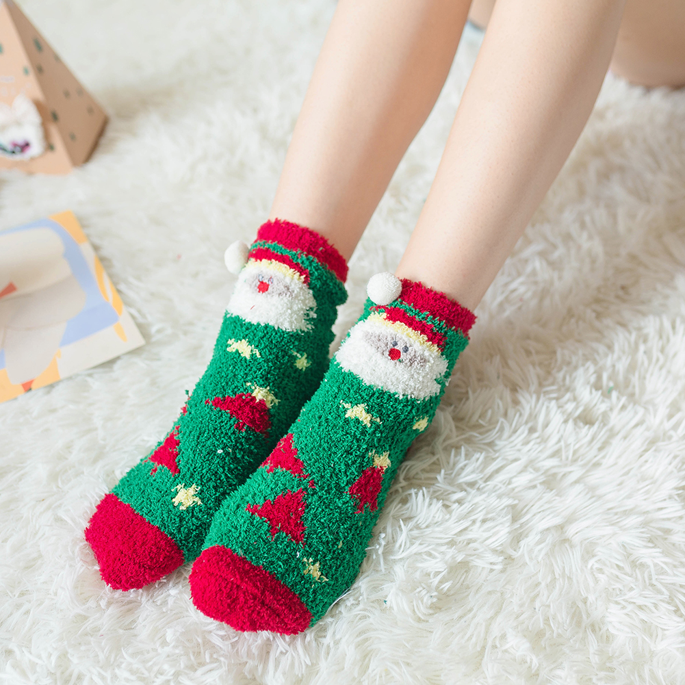 Womens Super Soft Warm Fleece Christmas Slipper Socks Xmas Home Footwear