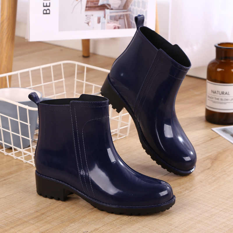 Rain BOOTS รองเท้ากันน้ำผู้หญิงยาง Lace Up Martin BOOTS เย็บแบนรองเท้ารองเท้าผู้หญิง 2019