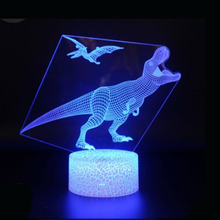 Dinosaur series 3D night lights led remote control seven-color cartoon bedside dinosaur