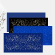 Chinese Calligraphy Xuan Paper Blue Black Rijstpapier Rice Paper Pure Color Golden Foils Calligraphy Half Ripe Xuan Paper
