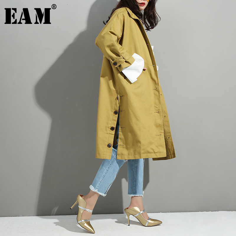 [EAM] Women Yellow Side Button Big Size Trench New Lapel Long Sleeve Loose Fit Windbreaker Fashion Autumn Winter 2020 YE5911
