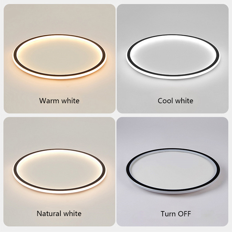 cheapest Nordic Minimalist White Black Square Round Pendant Lamp with Long Wire Dimmable LED High Ceiling Hanging Light for Bedside Decor